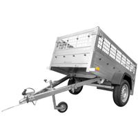 Remorca auto ușoară UNITRAILER Garden Trailer 200 cu obloane duble grilaj și roată de manevră cu clemă