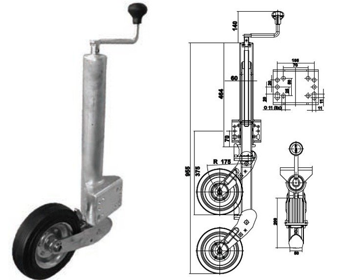 Roată de sprijin automată pentru remorci auto Knott ATK60