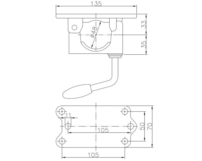 Clemă din fontă pentru roata de sprijin 48 mm Winterhoff
