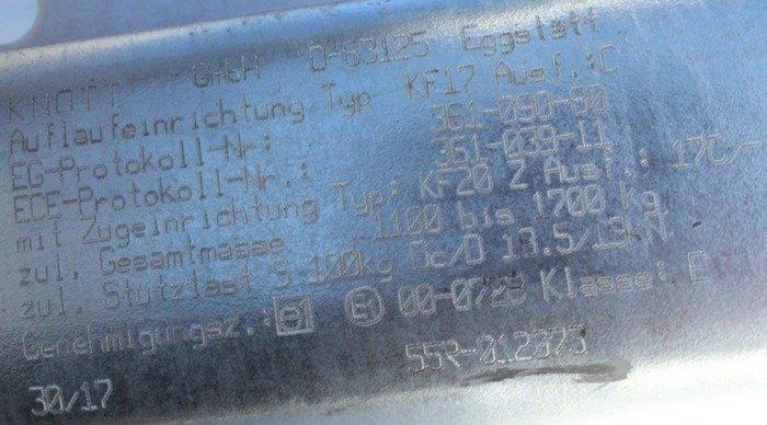 Coupling unit for trailers - KNOTT KF17 1700kg