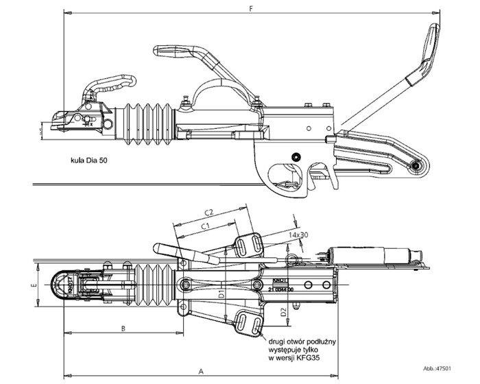 Frână inerțială pentru remorci auto - KNOTT KFG30 A 3000kg