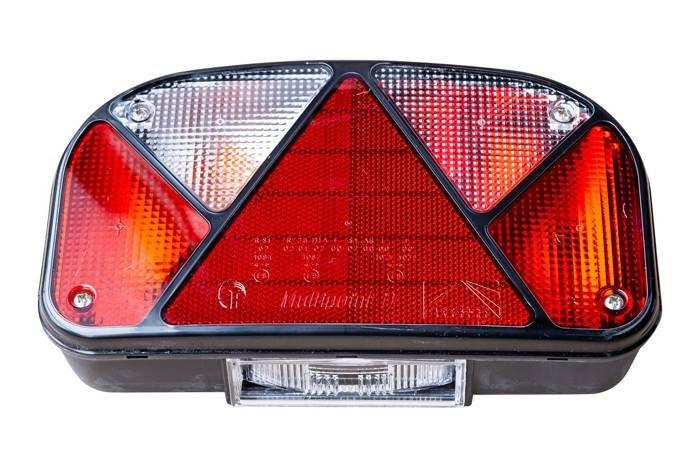Lampă spate ASPÖCK Mulitpoint II 5-PIN stângă + ceață (iluminare plăcuță inclusă)