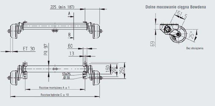Osie cu frână pentru remorci auto AL-KO 1750 mm 1350 kg 5x112