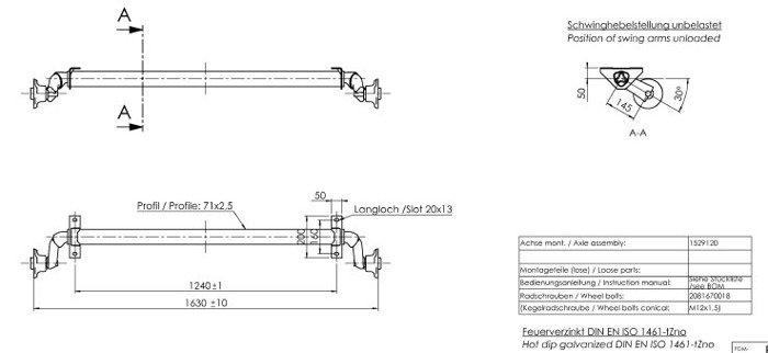 Osie fără frână pentru remorci auto AL-KO optima 1240 mm 750 kg 100x4