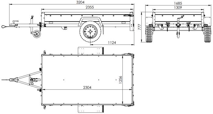Remorcă auto basculabilă 230 x 125 Remorcă monoax GARDEN TRAILER 230 KIPP cu roata de manevră și prelata plată gri  750 KG MMA