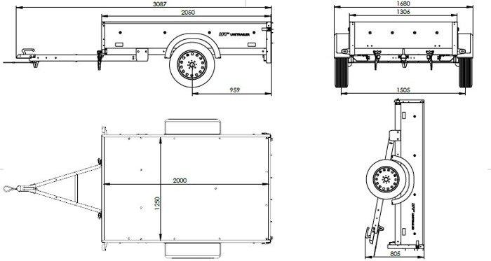 Remorcă auto ușoară pe arcuri 200 x 125 Garden Trailer 205/R