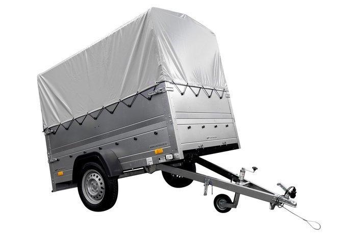 Remorcă monoax transport marfă GARDEN TRAILER 201 KIPP cu roată de susținere, obloane bis și cadru H-800 cu prelată gri