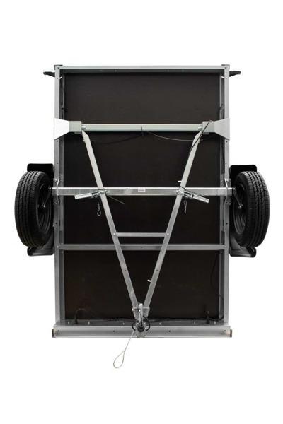 Remorca monoaxă 200 x 125 cu schelet prelată, obloane din plasă și roată de sprijin Garden Traler 205 DMC 750 KG