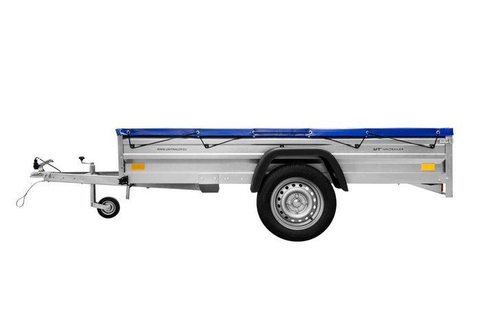 Remorca transport 236x125 Garden Trailer 236 Unitrailer 750 KG înset cu roată de sprijin și prelată plată