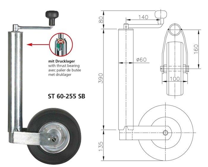 Roată de sprijin pentru remorci auto Winterhoff ST 60-255 SB