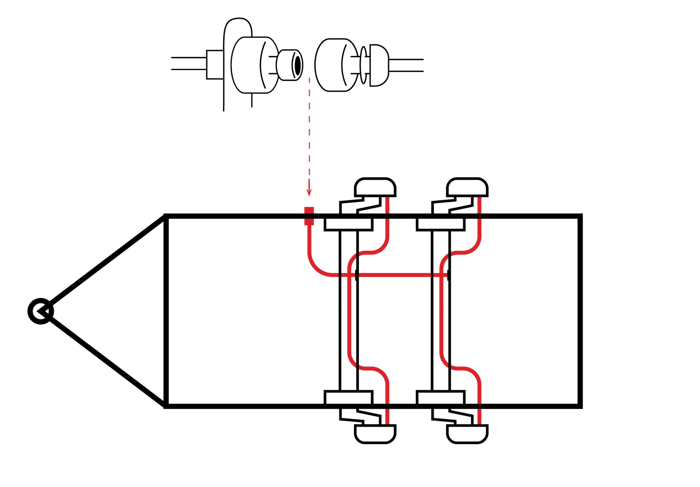 Sistem de spalare a frânei AL-KO pentru axa dublă
